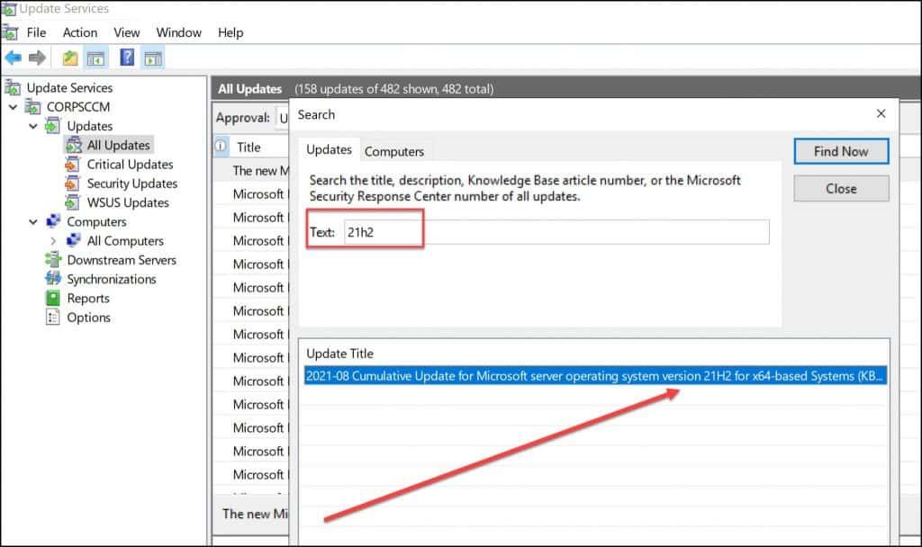 WSUS Windows Server 2022 Updates