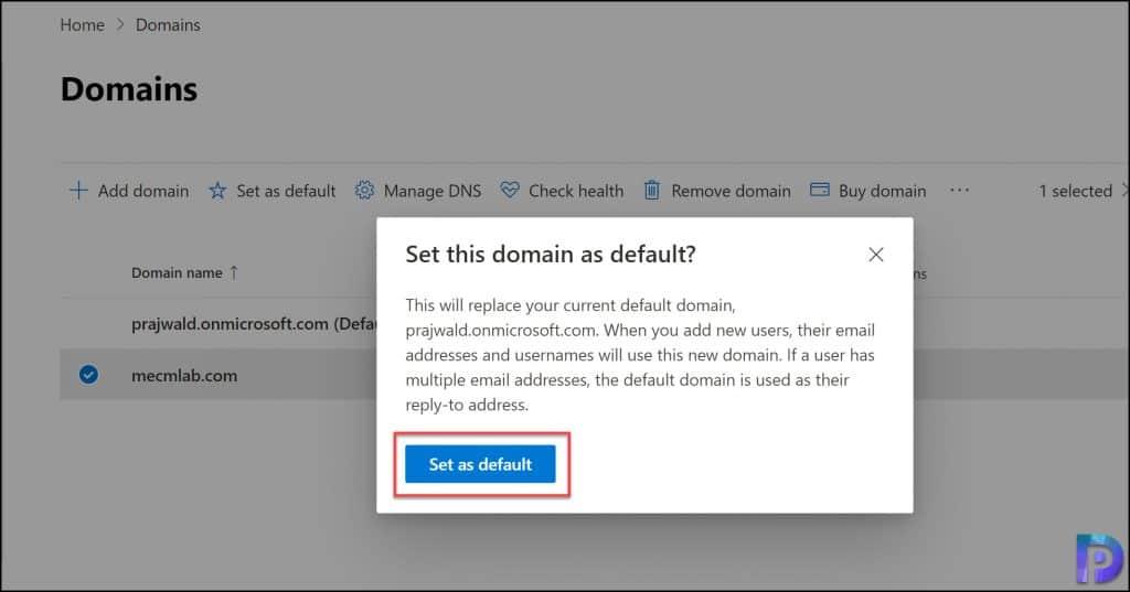 Set Default Domain