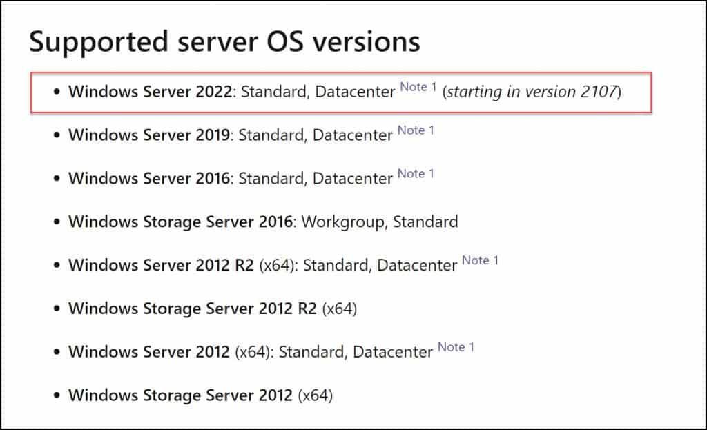 Windows Server 2022 Client Agent Support