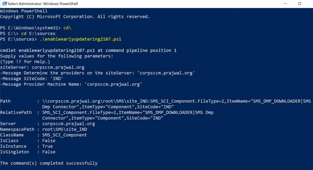Run SCCM 2107 EnableEarlyUpdateRing PowerShell script
