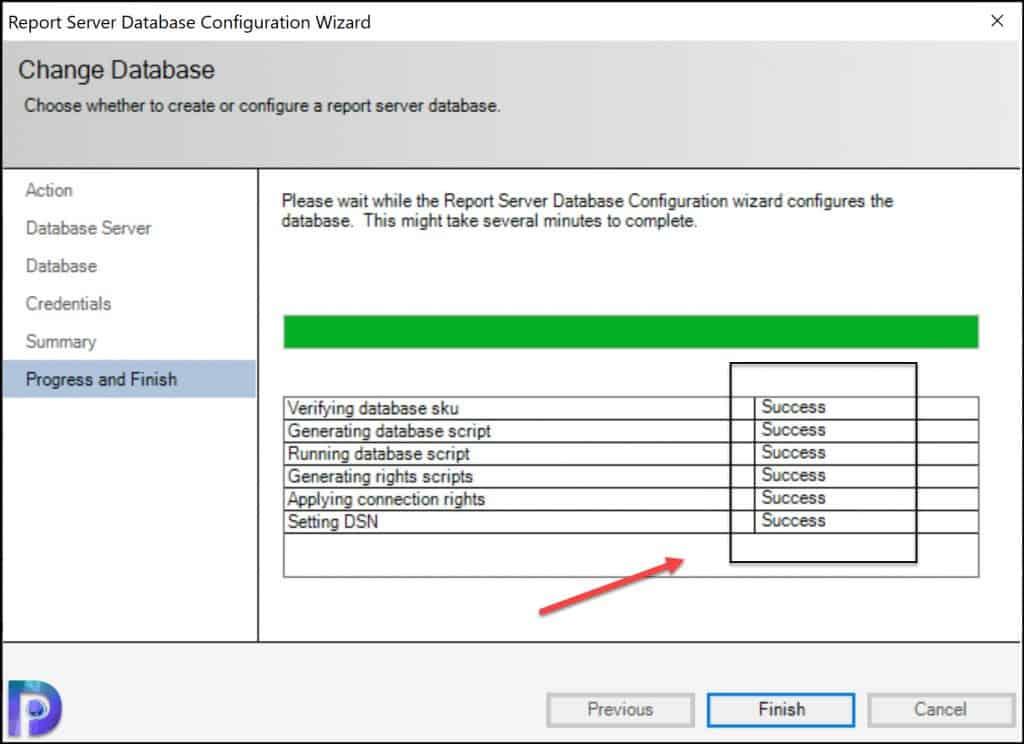 Report Server Database Configuration Wizard