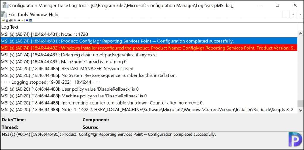 ConfigMgr Reporting Services Point Configuration completed successfully