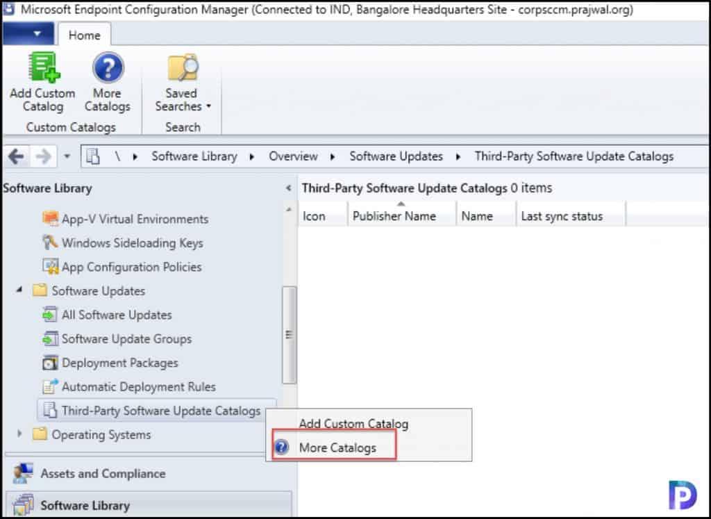 List third-party updates catalogs
