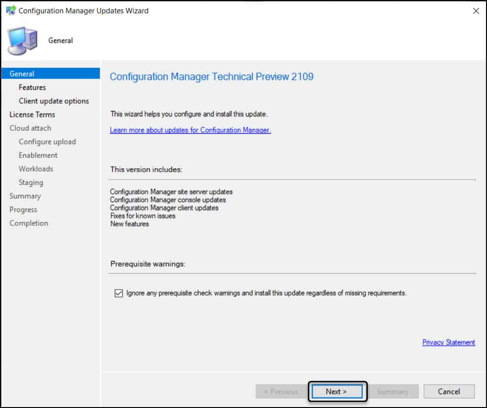 Install Configuration Manager Technical Preview 2109