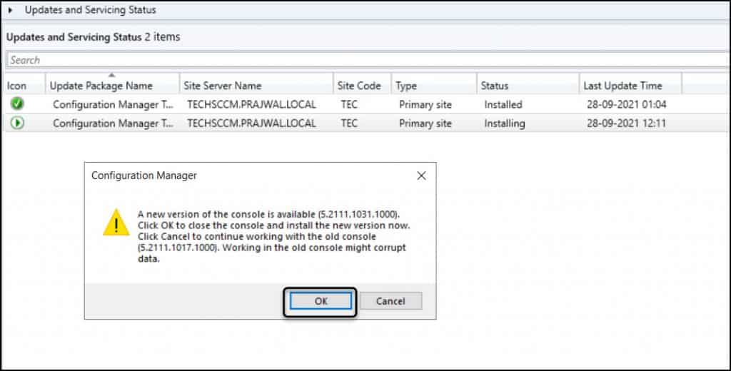 Configuration Manager Technical Preview 2109 Console Upgrade