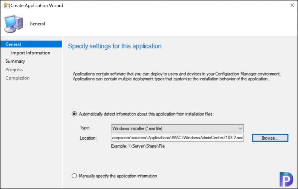 Add Windows Admin Center Application in SCCM