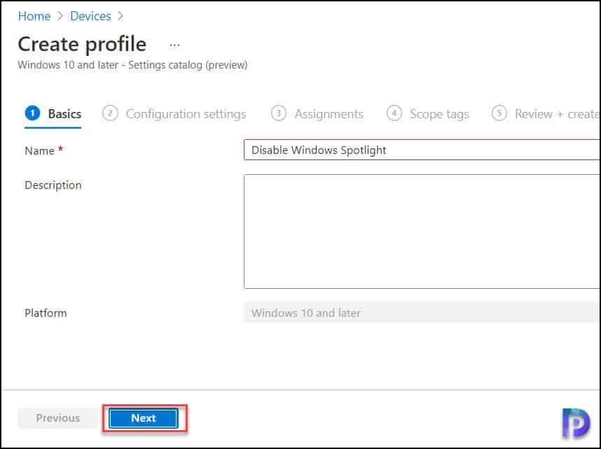 Create new Configuration Profile