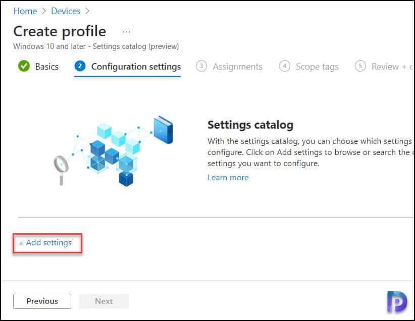 Settings Catalog - Add Settings