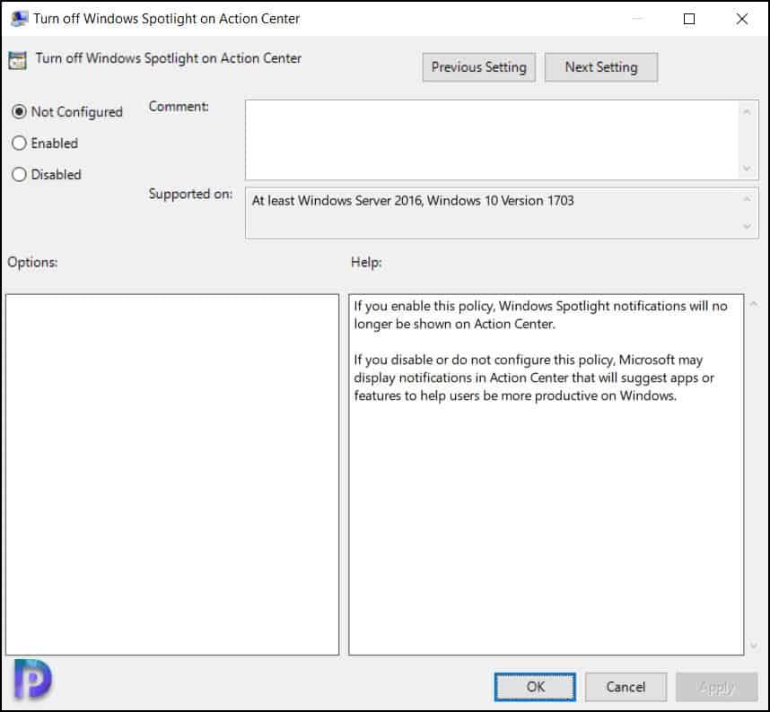 Turn off Windows Spotlight on Action Center