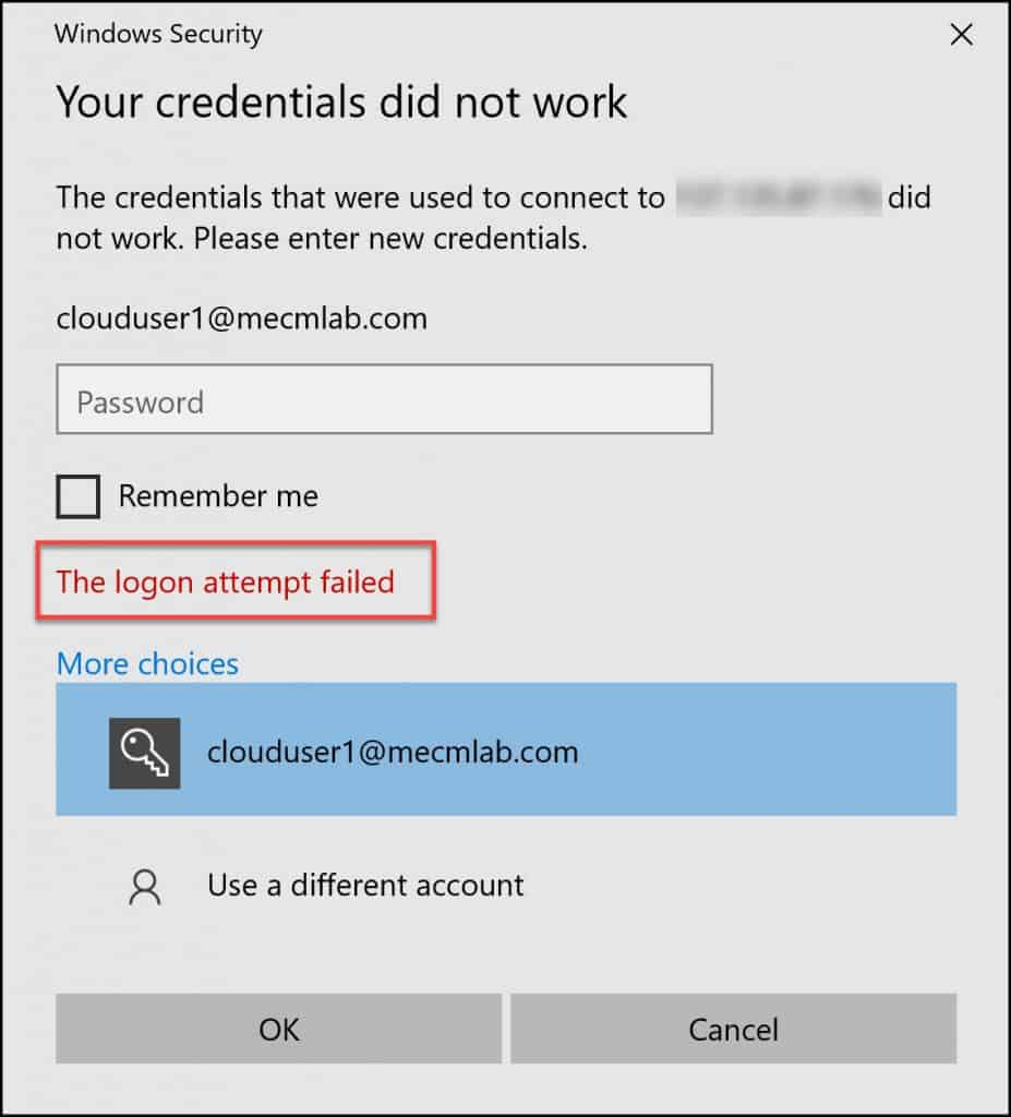 Unauthorized Client The login attempt failed