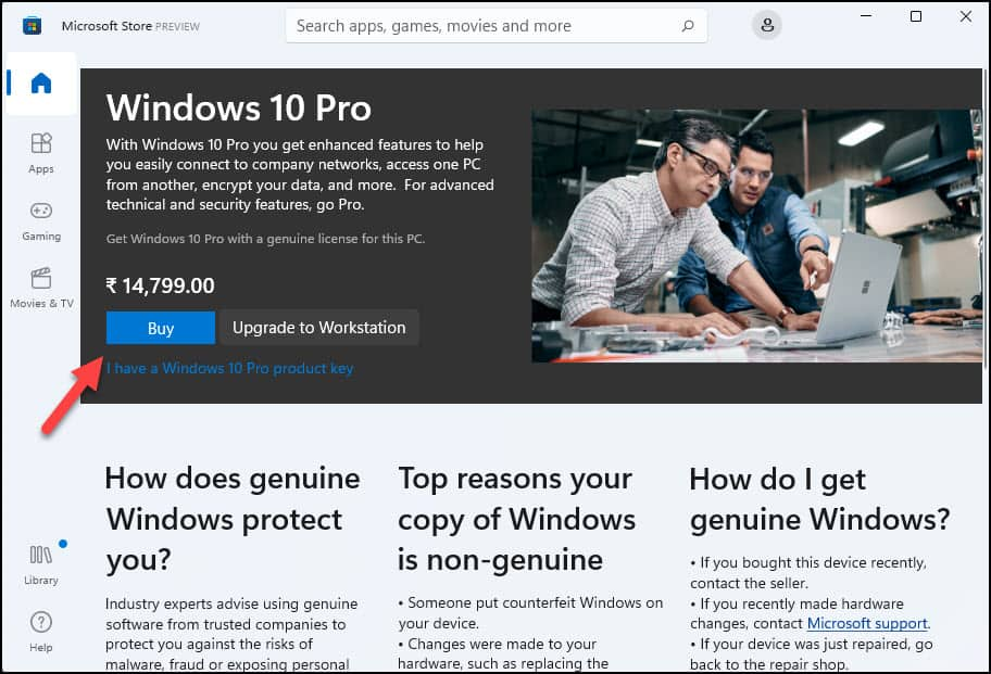 Get Windows 11 License from Microsoft Store