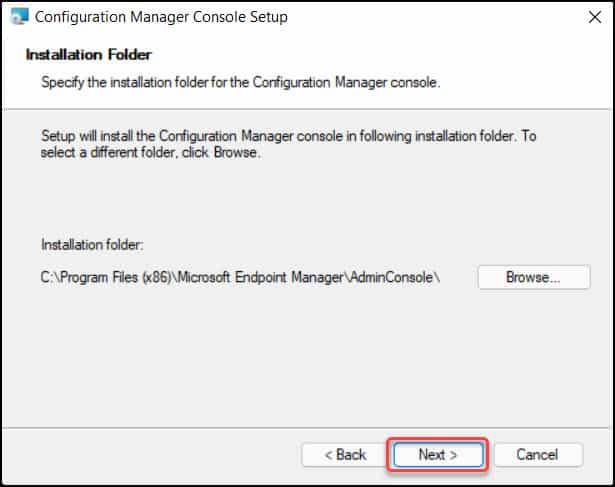 Default SCCM Console Install Location
