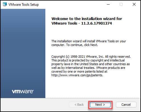 VMware tools installation on Windows 11