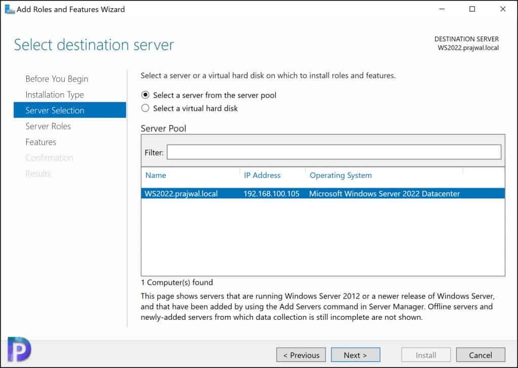 Windows Server Selection