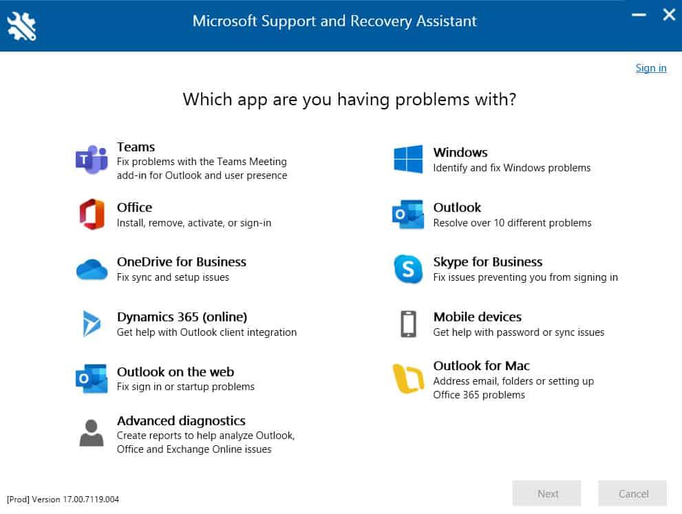 Microsoft SaRA Application Troubleshoot