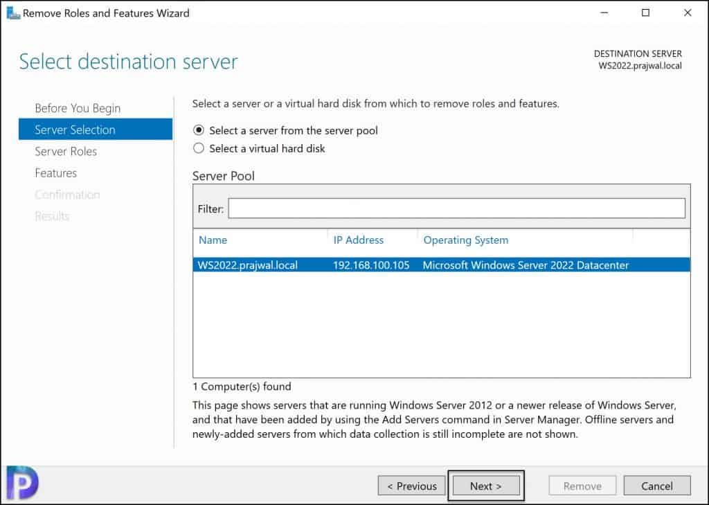 Uninstall WSUS Admin Console using Server Manager