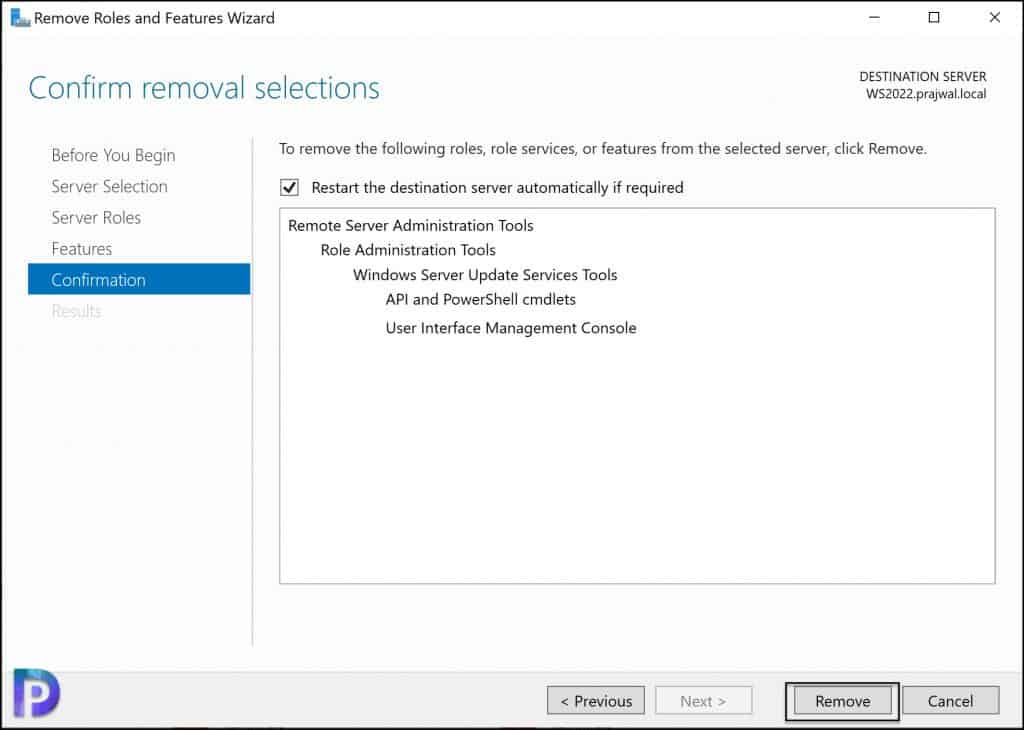 Uninstall WSUS Administration Console using Server Manager