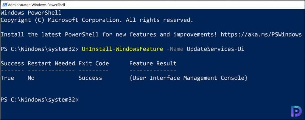 Uninstall WSUS Console using PowerShell