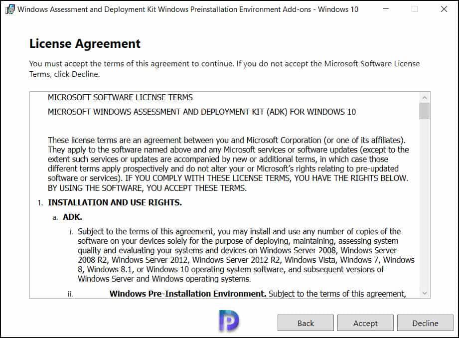 Install Windows PE Add-on for Server 2022
