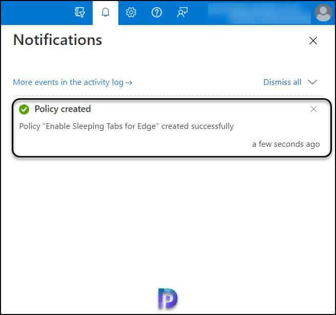 Microsoft Edge Sleeping Tabs Settings Policy Created