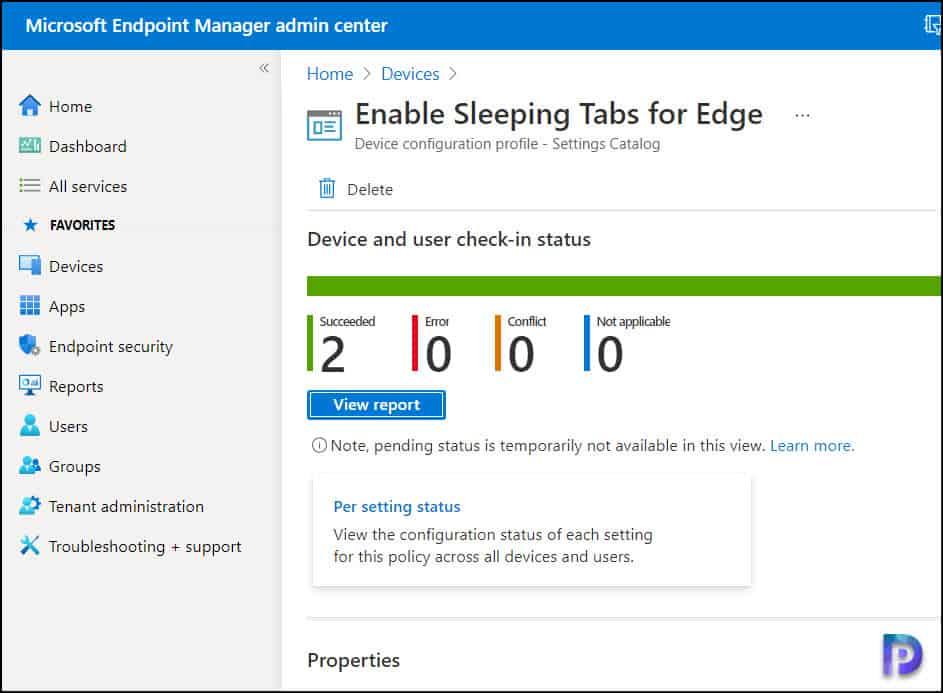 Monitor the Edge Sleeping Tabs Deployment Settings