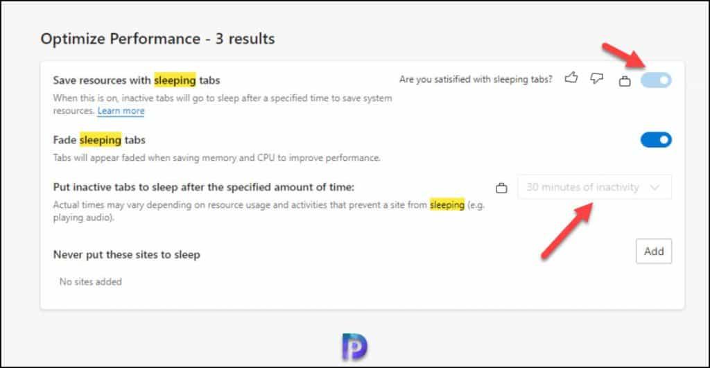Verify Sleeping Tabs Settings