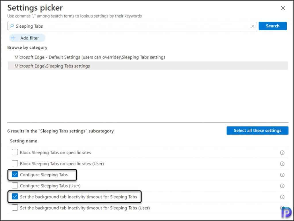 Select Microsoft Edge Sleeping Tabs Settings