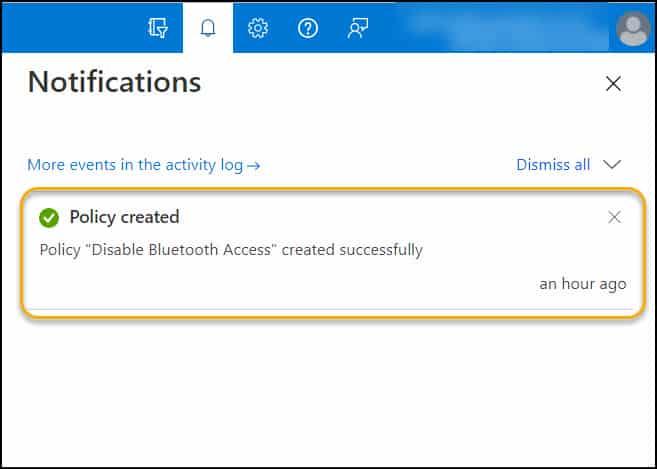 Block Bluetooth using Intune Notification