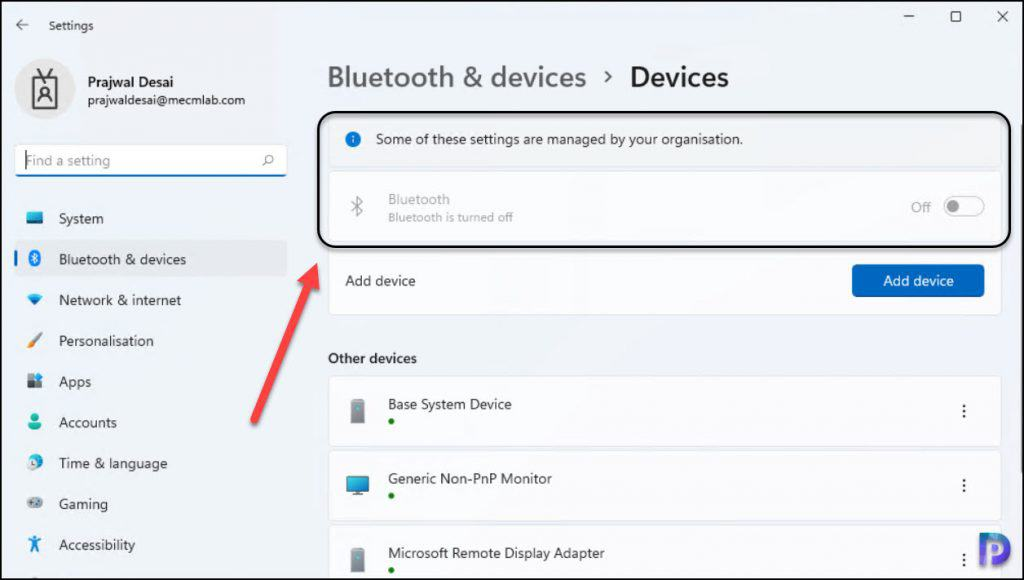 Bluetooth Settings Disabled on Windows 11