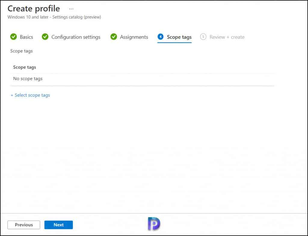 Scope Tags - Intune Configuration Profile