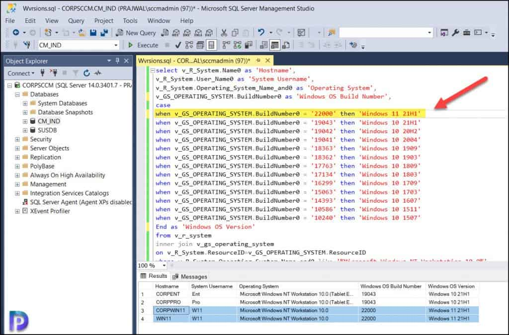 Find Windows 11 Versions using SCCM SQL Query