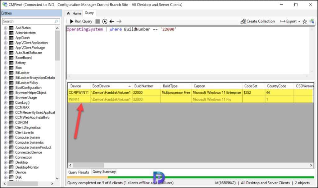 Find Windows 11 Versions using SCCM CMPivot Query