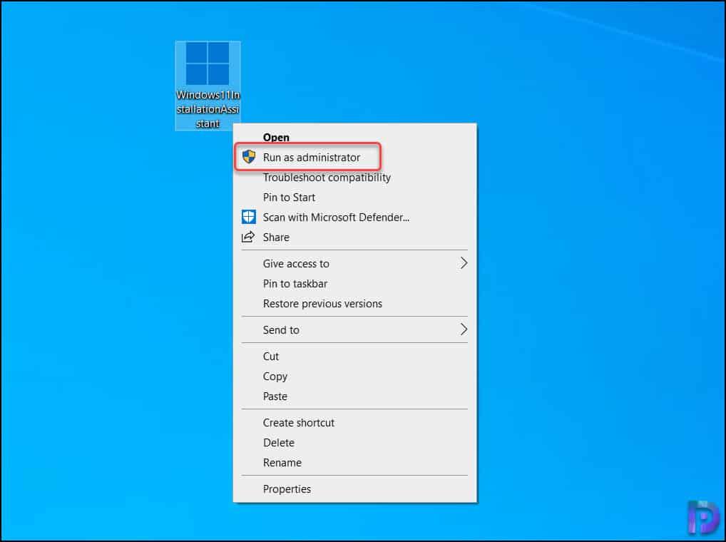 Run Windows 11 installation assistant